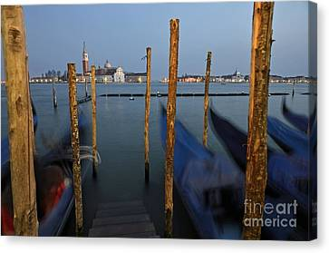 San Giorgio Maggiore Church And Gondolas At Dusk Canvas Print by Sami Sarkis