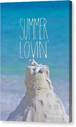 Summer Lovin' Sandcastle With Coral Turquoise Sea Canvas Print by Beverly Claire Kaiya