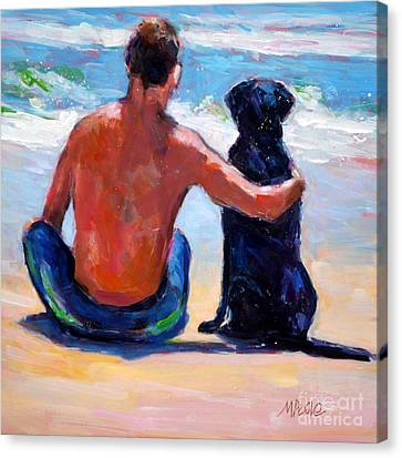 Man And Dog Canvas Print - Sand Sea You Me by Molly Poole