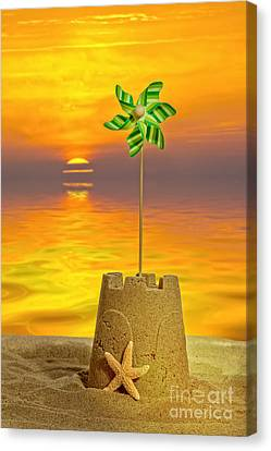 Sandcastle At Sunset Canvas Print by Amanda Elwell