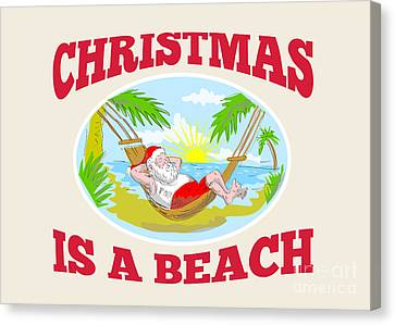Father Christmas Canvas Print - Santa Claus Father Christmas Beach Relaxing by Aloysius Patrimonio
