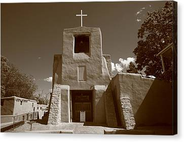 Crucifix Art Canvas Print - Santa Fe - San Miguel Chapel by Frank Romeo
