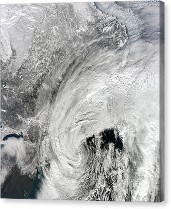 Satellite View Of A Large Noreaster Canvas Print by Stocktrek Images