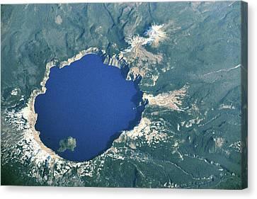 Satellite View Of Crater Lake, Oregon Canvas Print