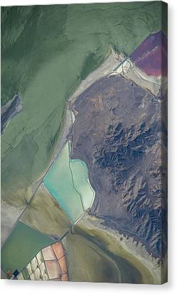 Satellite View Canvas Print - Satellite View Of Salt Evaporation by Panoramic Images