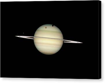 Saturn And Moon Transits Canvas Print by Nasa/esa/hubble Heritage Team (stsci/aura)