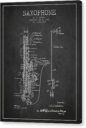 Saxophone Canvas Print - Saxophone Patent Drawing From 1928 by Aged Pixel