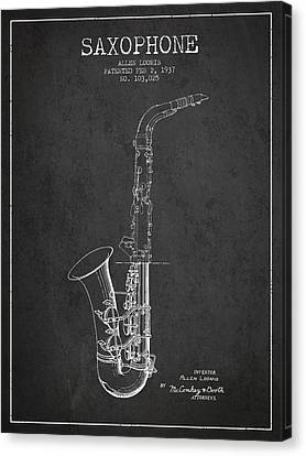 Saxophone Patent Drawing From 1937 - Dark Canvas Print by Aged Pixel