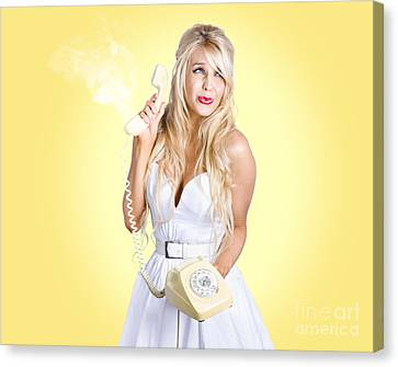 Scared Blond Woman. Trouble Phone Call Concept Canvas Print by Jorgo Photography - Wall Art Gallery