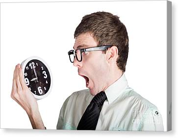 Scared Businessman With Clock Canvas Print by Jorgo Photography - Wall Art Gallery