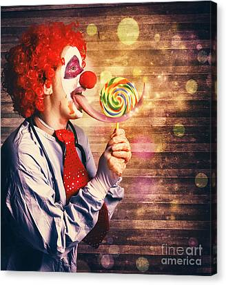 Frightening Canvas Print - Scary Circus Clown At Horror Birthday Party by Jorgo Photography - Wall Art Gallery