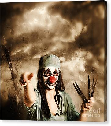 Scary Clown Doctor Throwing Knives Outdoors Canvas Print by Jorgo Photography - Wall Art Gallery