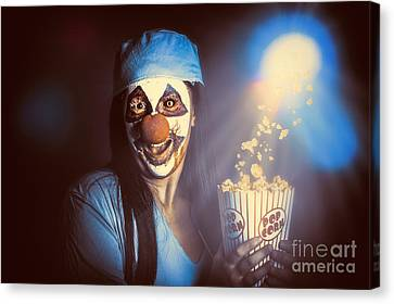 Scary Clown Watching Horror Movie In Theater Canvas Print by Jorgo Photography - Wall Art Gallery