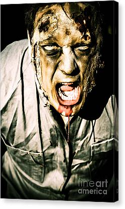 Scary Dark Horror Zombie Screaming Bloody Murder Canvas Print by Jorgo Photography - Wall Art Gallery