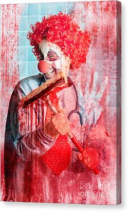 Scary Hospital Clown Cleaning Blood Smeared Window Canvas Print by Jorgo Photography - Wall Art Gallery