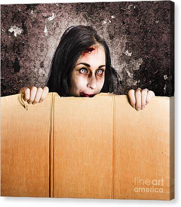 Scary Zombie Girl Advertising Halloween Price Cut Canvas Print by Jorgo Photography - Wall Art Gallery