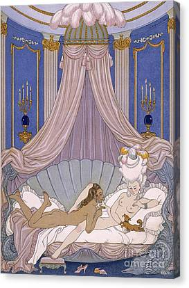 Scene From 'les Liaisons Dangereuses' Canvas Print by Georges Barbier