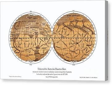 Schiaparellis Map Of Mars, 1877-1888 Canvas Print