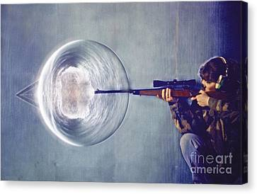 Schlieren Canvas Print - Schlieren Photo Of Rifle Shot by Gary S. Settles