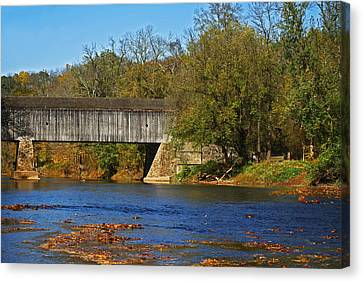 Schofield Ford Covered Bridge Canvas Print by Elsa Marie Santoro