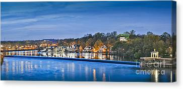 Schuylkill River  Boathouse Row Lit At Night  Canvas Print
