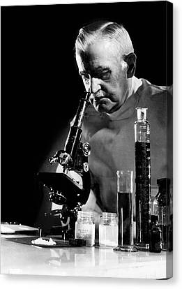 Scientist With Microscope Canvas Print