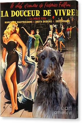 Scottish Deerhound Art - La Dolce Vita Movie Poster Canvas Print by Sandra Sij