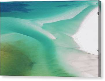 Sea And Fresh Water Covering Beach Canvas Print by Peter Adams