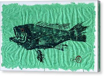 Gyotaku Canvas Print - Sea Bass On Aegean Green Thai Unryu Paper by Jeffrey Canha