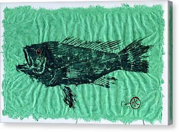 Sea Bass On Aegean Green Thai Unryu Paper Canvas Print by Jeffrey Canha