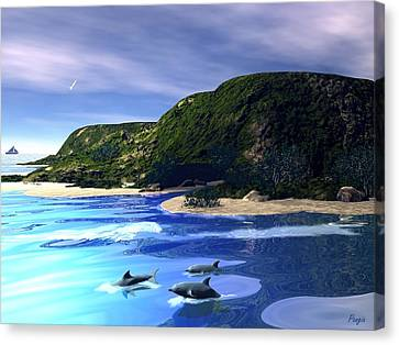 Sea Cave Canvas Print by John Pangia