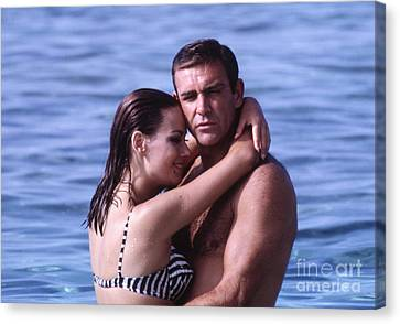 Sean Connery And Claudine Auger During Filming Of Thunderball Canvas Print by The Harrington Collection