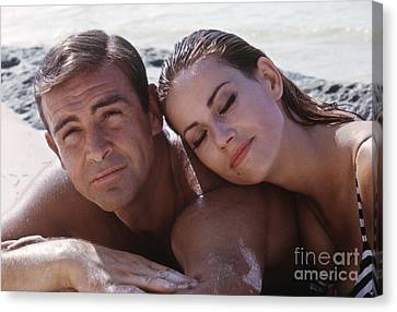Sean Connery And Claudine Auger  Canvas Print by The Harrington Collection
