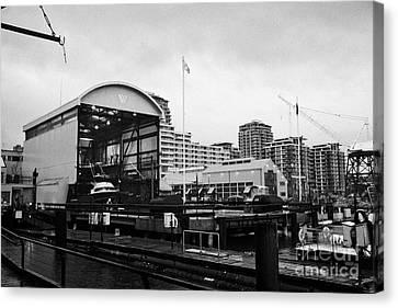 seaspan marine tugboat dock city of north Vancouver BC Canada Canvas Print by Joe Fox