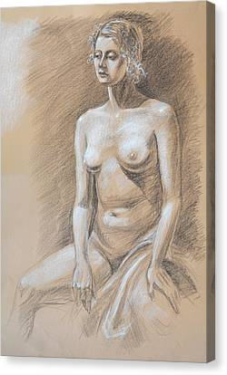 Nude Woman Charcoal Drawing Canvas Print - Seated Model Drawing  by Irina Sztukowski