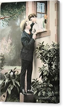 Secret Romance. Vintage Postcard 1907 Canvas Print by Patricia Hofmeester