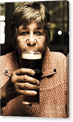 Senior Person Enjoying A Cold Beer At Bowls Club Canvas Print