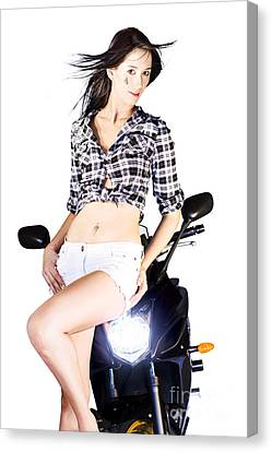 Sexy Biker Girl Canvas Print by Jorgo Photography - Wall Art Gallery