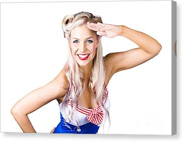 Sexy Pin-up Woman In Sailor Outfit Canvas Print by Jorgo Photography - Wall Art Gallery