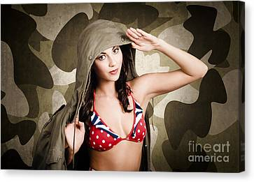 Sexy Brunette Women Canvas Print - Sexy Vintage Army Girl Saluting by Jorgo Photography - Wall Art Gallery
