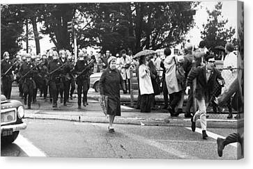 Police Officer Canvas Print - Sf State Riots Scene by Underwood Archives