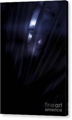 Ghostly Canvas Print - Shadowed Woman Behind Frond by Jorgo Photography - Wall Art Gallery