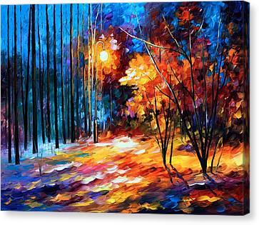 Shadows On Snow Canvas Print by Leonid Afremov