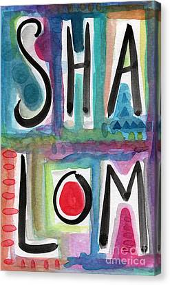 Hebrew Canvas Print - Shalom by Linda Woods