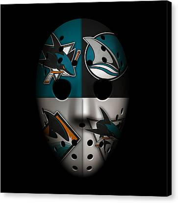 Sharks Goalie Mask Canvas Print by Joe Hamilton