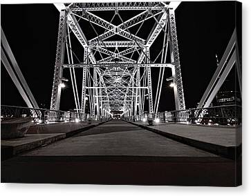 Shelby Street Bridge At Night Canvas Print by Dan Sproul