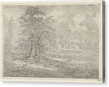 Shepherd In Cornfield, Gerardus Emaus De Micault Canvas Print