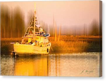 Ship At Dusk  Canvas Print by Frank Bright
