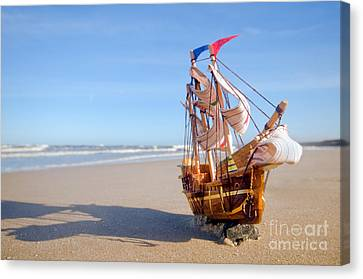 Ship Model On Summer Sunny Beach Canvas Print by Michal Bednarek