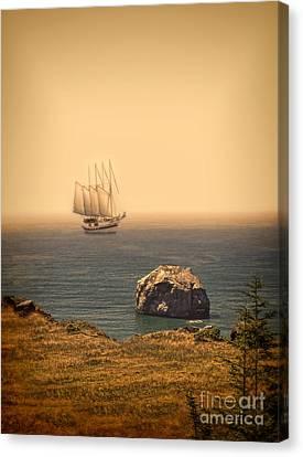 Ship Off The Coast Canvas Print